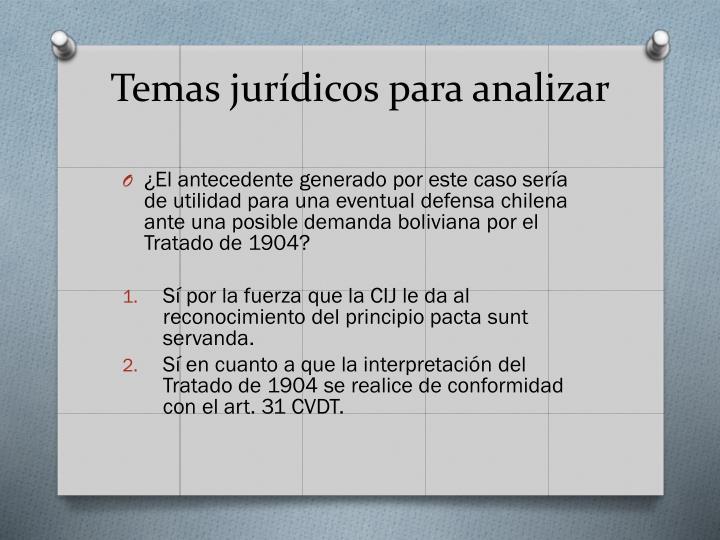 Temas jurídicos para analizar