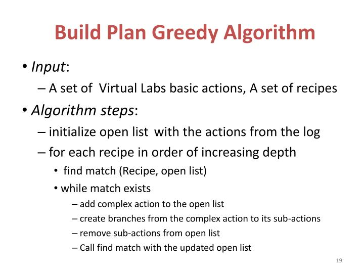 Build Plan Greedy Algorithm