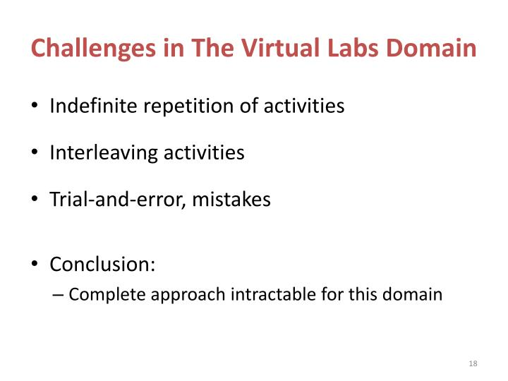 Challenges in The Virtual Labs Domain