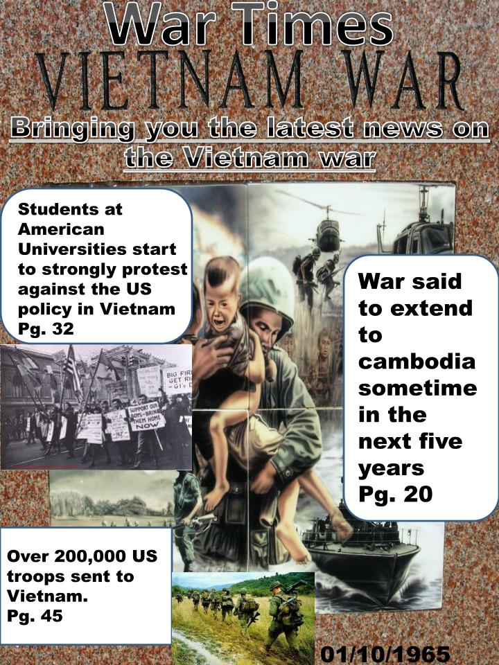 Students at American Universities start to strongly protest against the US policy in Vietnam