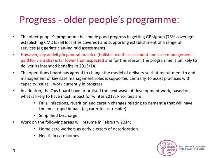 Progress - older people's programme: