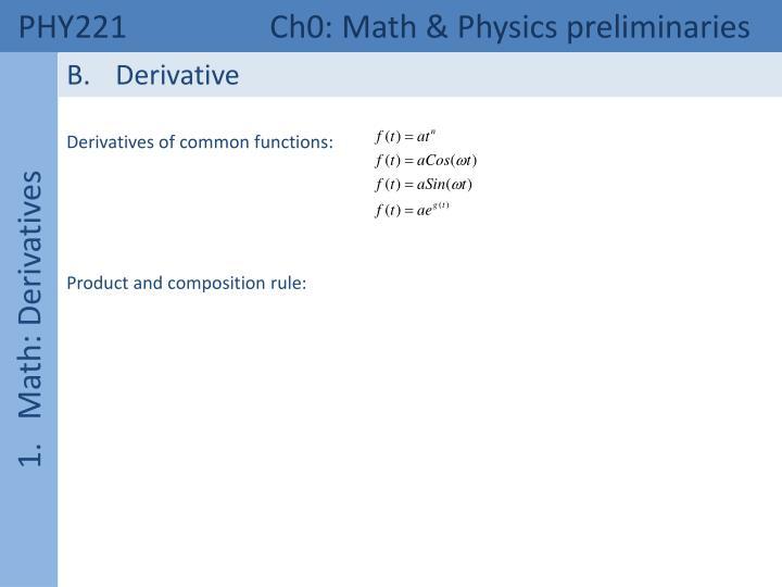 PHY221  Ch0: Math & Physics preliminaries