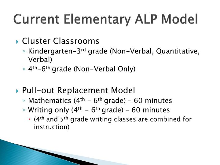 Current Elementary ALP Model