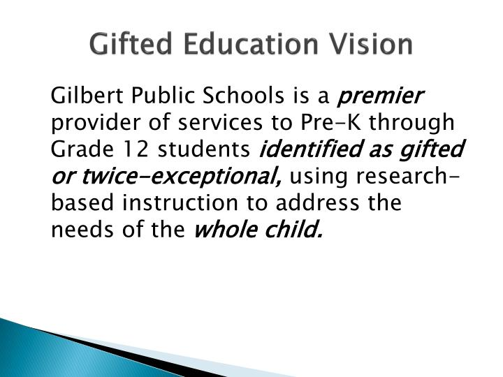 Gifted Education Vision