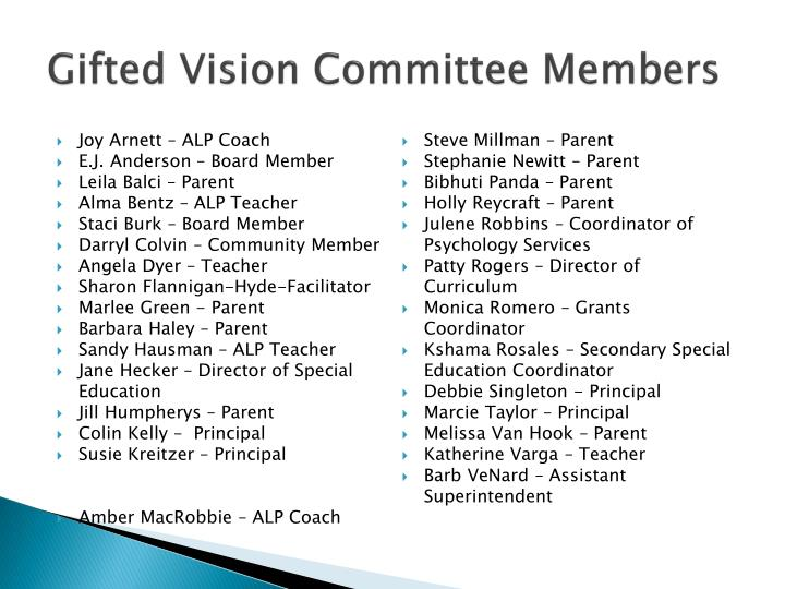 Gifted vision committee members