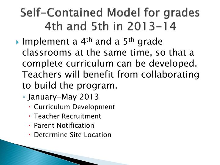 Self-Contained Model for grades 4th and 5th in 2013-14