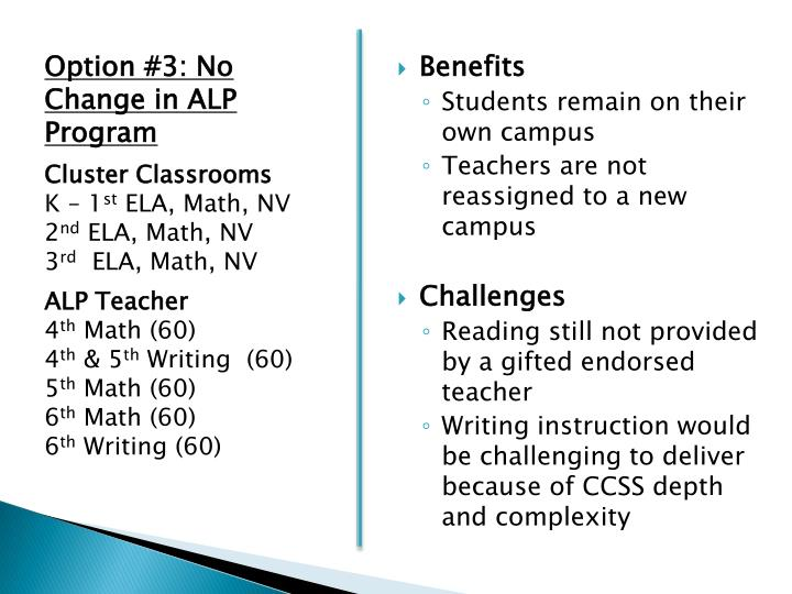 Option #3: No Change in ALP Program