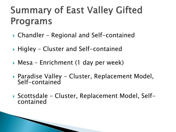 Summary of East Valley Gifted Programs
