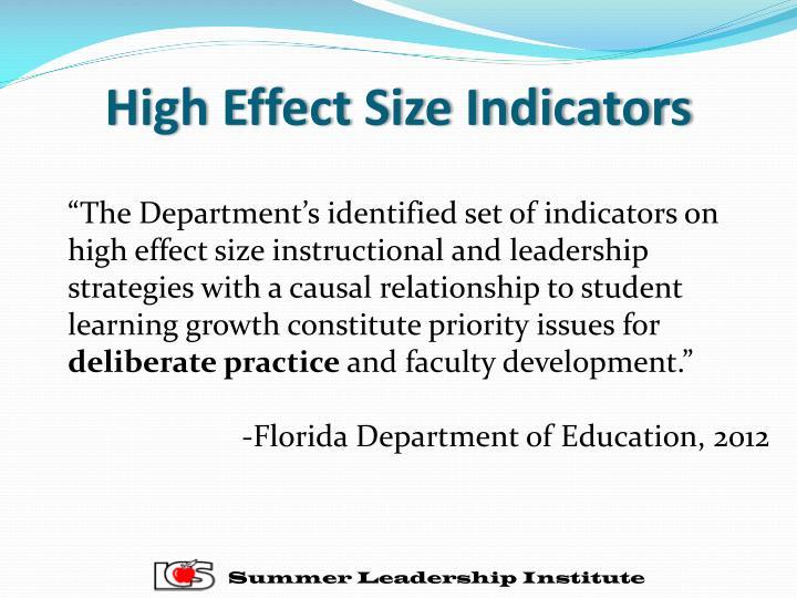 High Effect Size Indicators