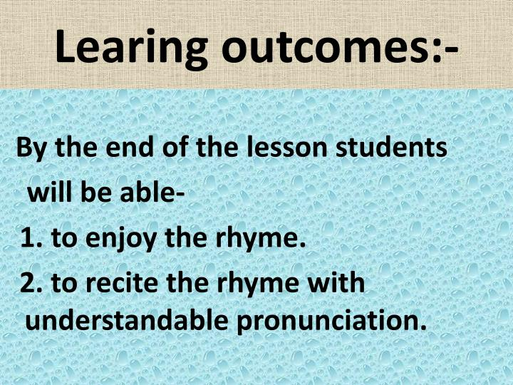 Learing outcomes