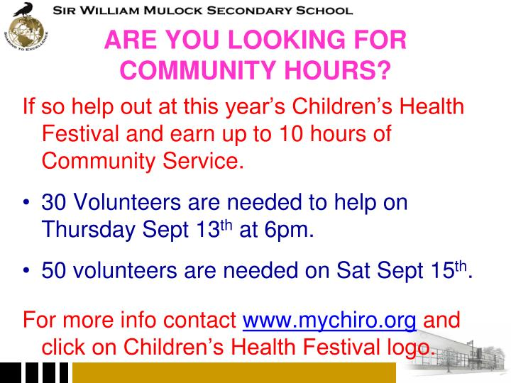 Are you looking for community hours