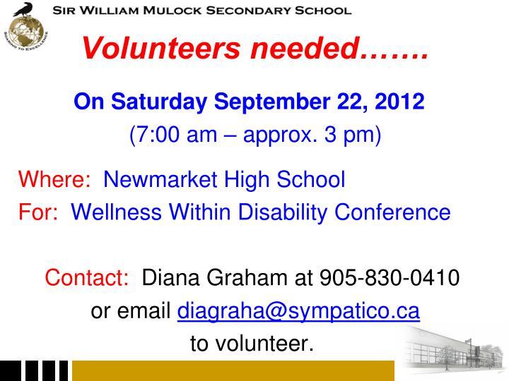 Volunteers needed…….