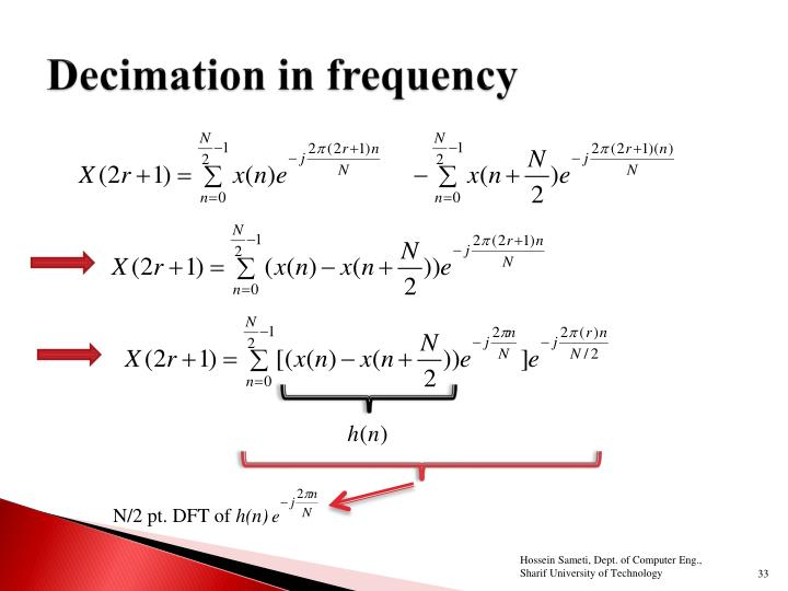 Decimation in frequency
