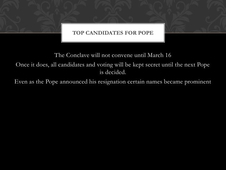 Top candidates for pope