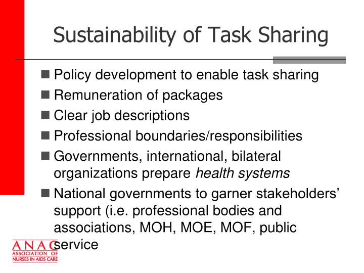 Sustainability of Task Sharing