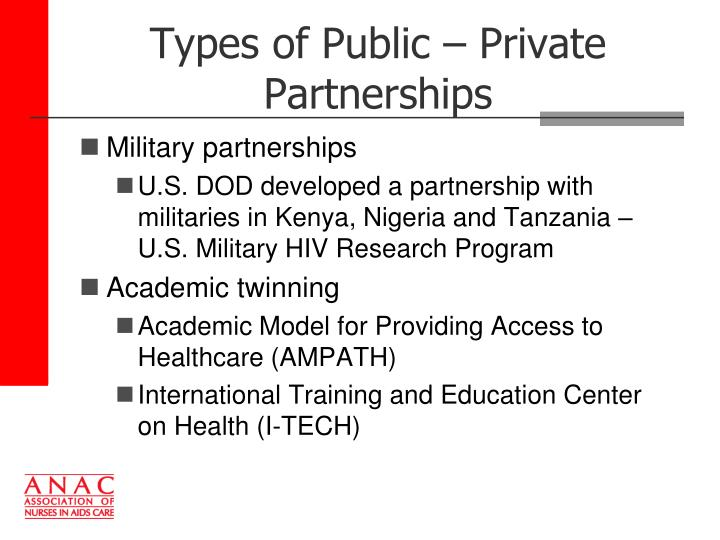 Types of Public – Private Partnerships