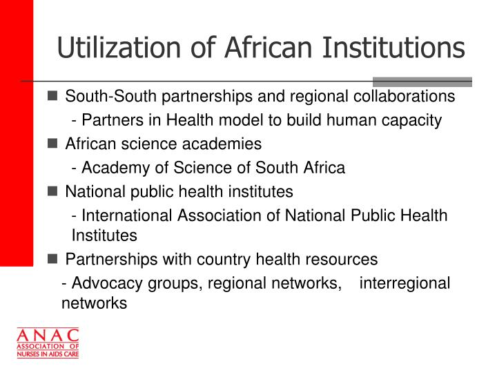 Utilization of African Institutions