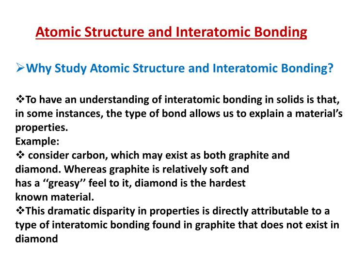 Atomic Structure and Interatomic Bonding