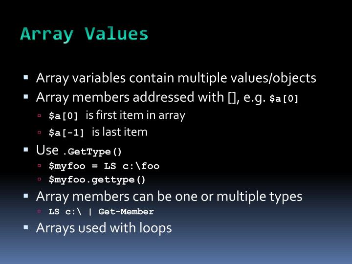 Array Values