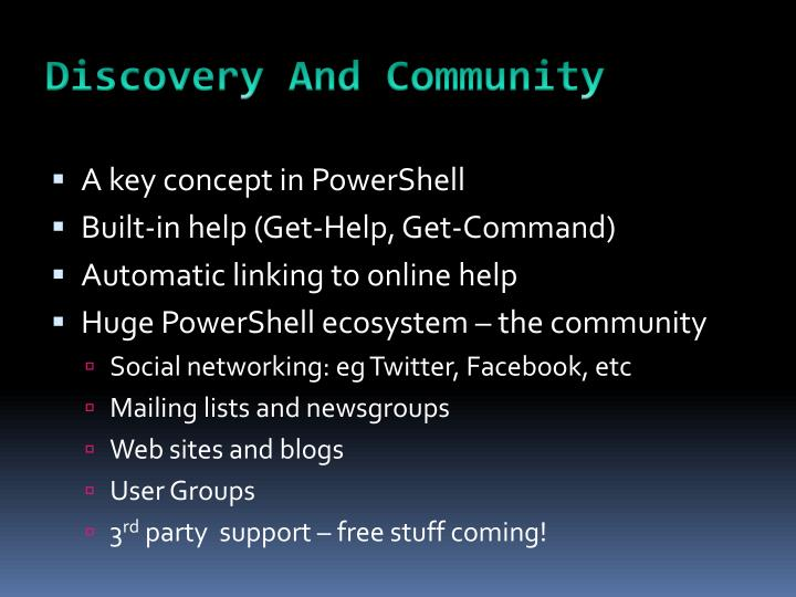 Discovery And Community