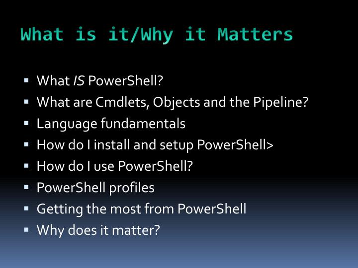 What is it/Why it Matters