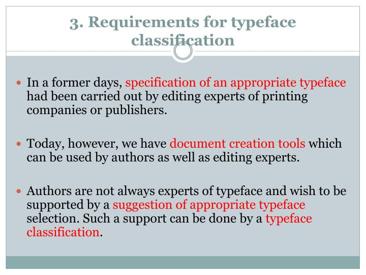 3. Requirements for typeface classification