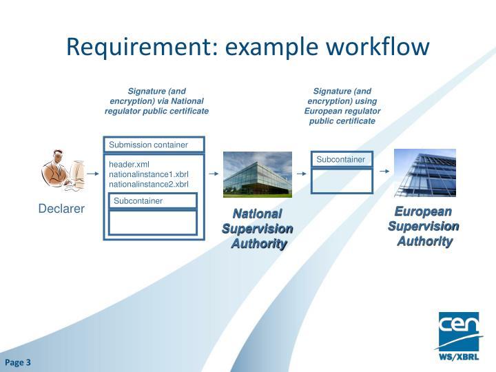 Requirement: example workflow