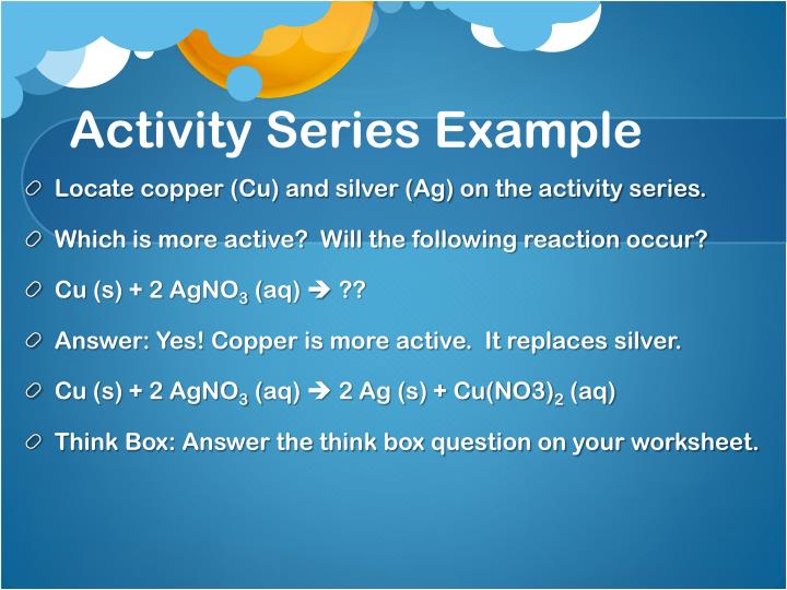 Activity Series Example
