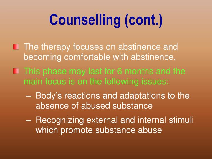 Counselling (cont.)