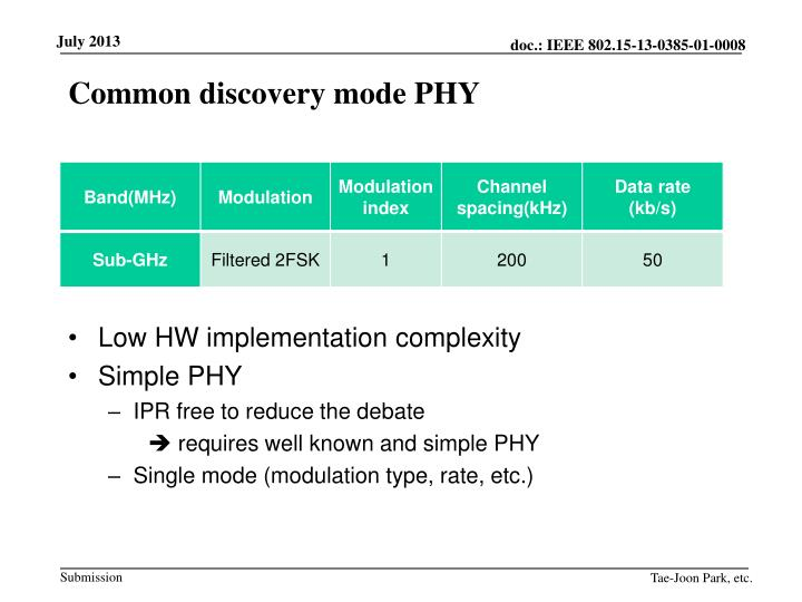 Common discovery mode PHY