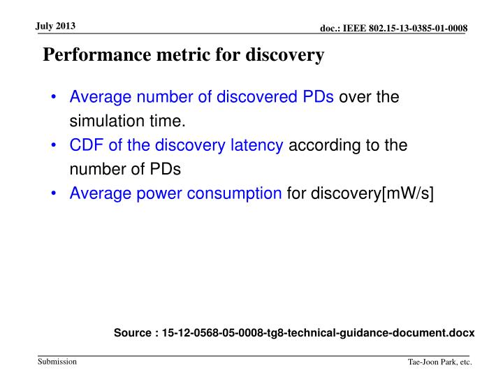 Performance metric for discovery