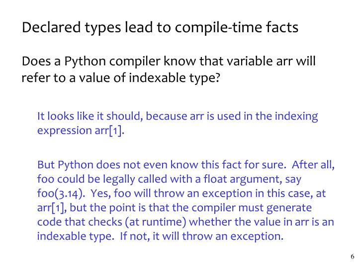 Declared types lead to compile-time facts