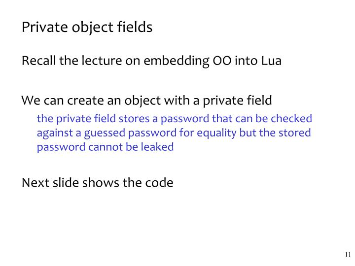 Private object fields