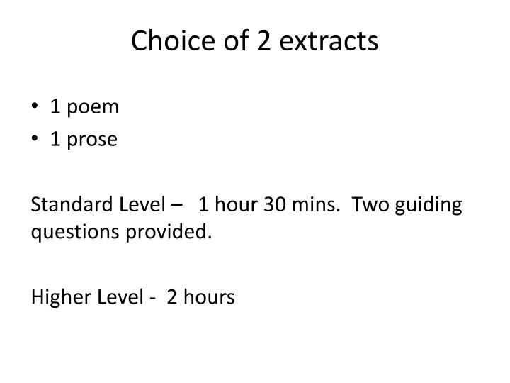 Choice of 2 extracts