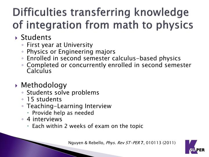 Difficulties transferring knowledge of integration from math to physics
