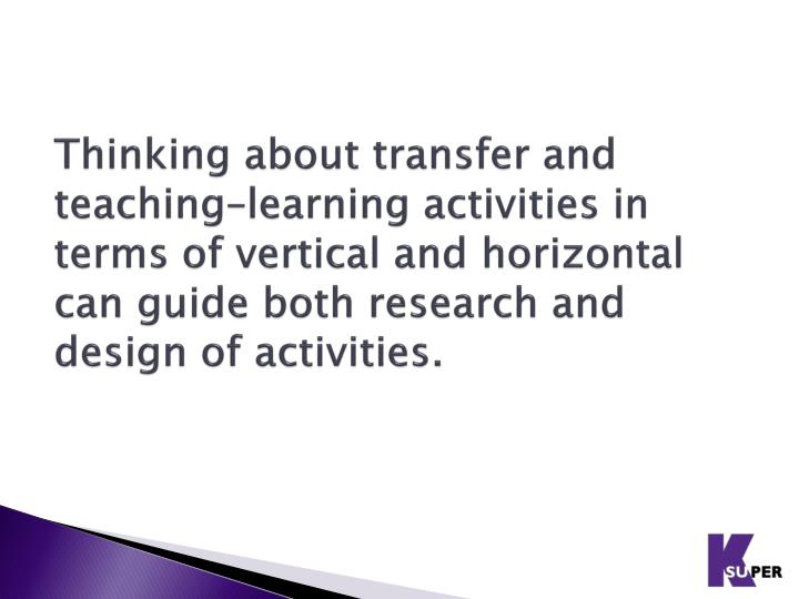Thinking about transfer and teaching–learning activities in terms of vertical and horizontal can guide both research and design