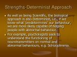 strengths determinist approach