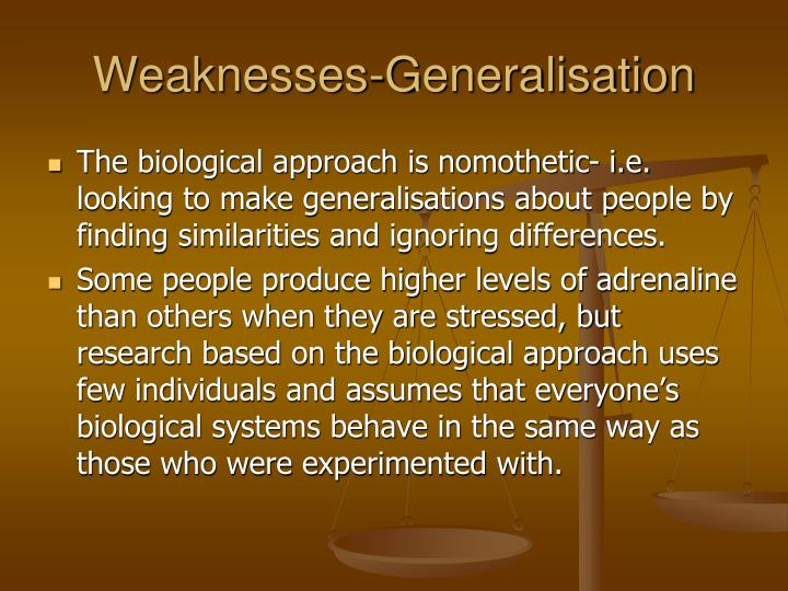 Weaknesses-Generalisation