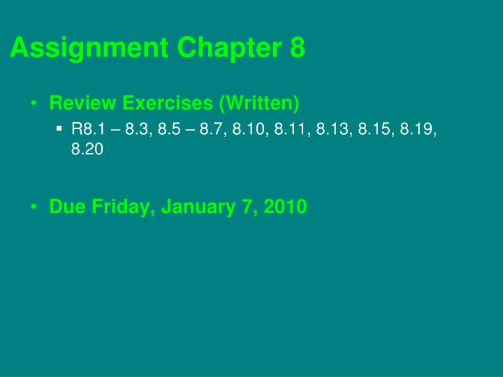 Assignment Chapter 8
