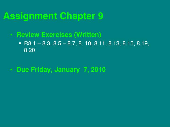 Assignment chapter 9