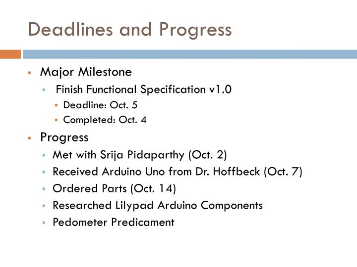 Deadlines and Progress