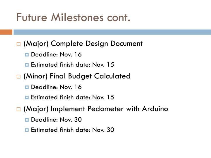 Future Milestones cont.