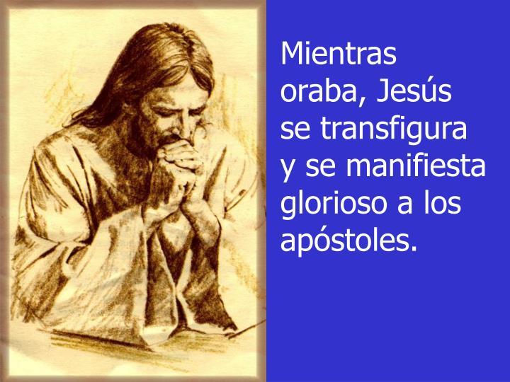 Mientras oraba, Jesús se transfigura y se manifiesta glorioso a los apóstoles.