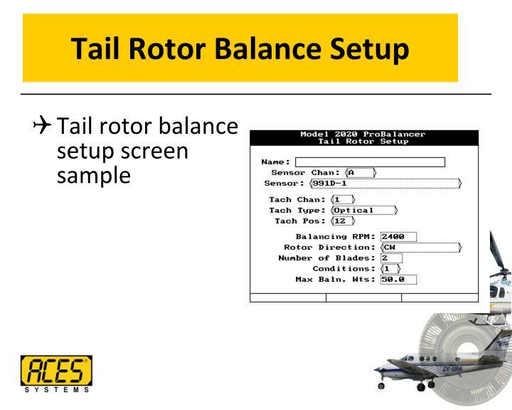 Tail Rotor Balance Setup