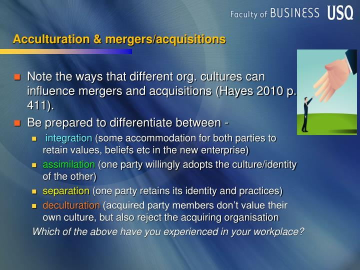 Acculturation & mergers/acquisitions