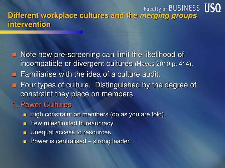 Different workplace cultures and the
