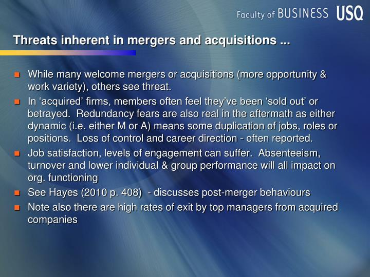 Threats inherent in mergers and acquisitions ...