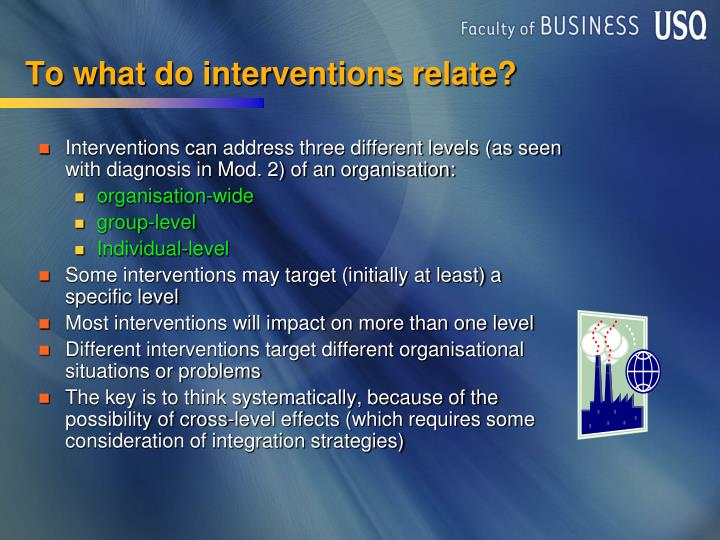 To what do interventions relate?