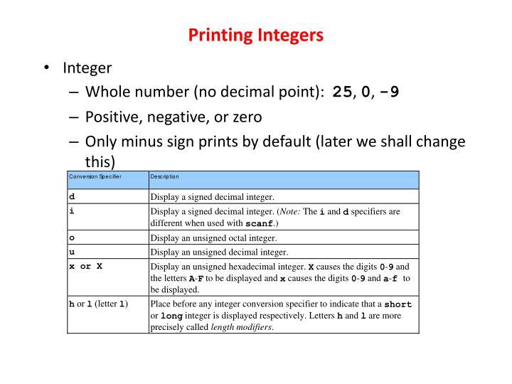 Printing Integers
