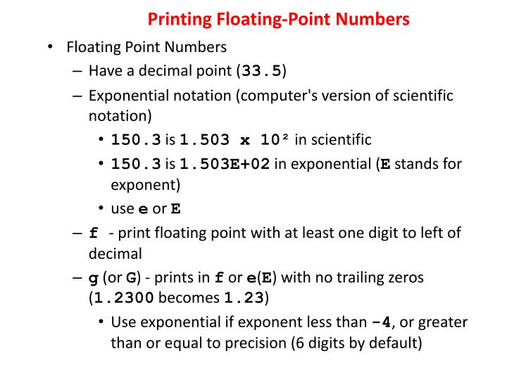 Printing Floating-Point Numbers